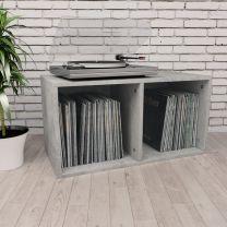Opbergbox voor LP's 71x34x36 cm spaanplaat betongrijs