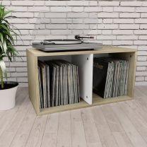 Opbergbox voor LP's 71x34x36cm spaanplaat wit sonoma eikenkleur