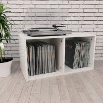 Opbergbox voor LP's 71x34x36 cm spaanplaat hoogglans wit