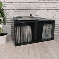 Opbergbox voor LP's 71x34x36 cm spaanplaat hoogglans zwart
