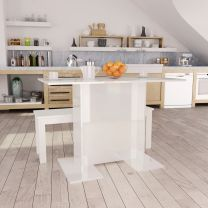 Eettafel 110x60x75 cm spaanplaat hoogglans wit