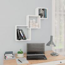 Wandschappen kubus 84,5x15x27 cm spaanplaat wit
