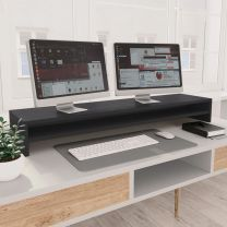 Monitorstandaard 100x24x13 cm spaanplaat grijs