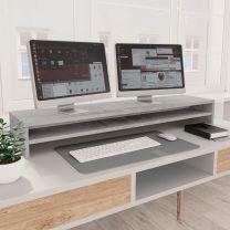 Monitorstandaard 100x24x13 cm spaanplaat betongrijs