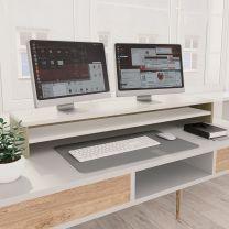 Monitorstandaard 100x24x13 cm spaanplaat wit en sonoma eiken