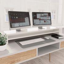 Monitorstandaard 100x24x13 cm spaanplaat hoogglans wit
