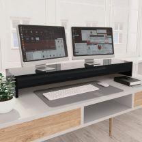 Monitorstandaard 100x24x13 cm spaanplaat hoogglans zwart