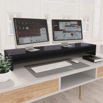 Monitorstandaard 100x24x13 cm spaanplaat hoogglans grijs