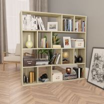 Kamerscherm/boekenkast 110x24x110 cm spaanplaat eikenkleurig