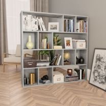 Kamerscherm/boekenkast 110x24x110 cm spaanplaat betongrijs