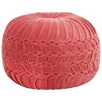 Poef smock ontwerp 40x30 cm katoenfluweel roze