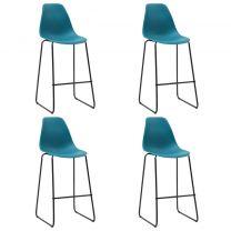 Barstoelen 4 st kunststof turquoise