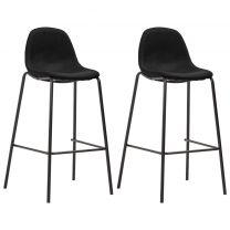 Barstoelen 2 st stof zwart