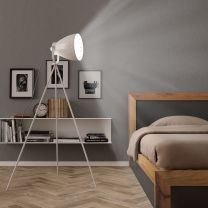 Vloerlamp E27 metaal wit
