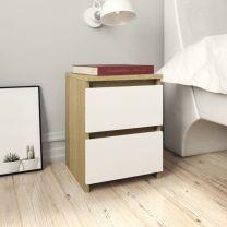 Nachtkastje 30x30x40 cm spaanplaat wit en sonoma eikenkleurig