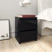 Nachtkastje 30x30x40 cm spaanplaat hoogglans zwart