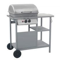 Gasbarbecue met 3-laags zijtafel zwart en zilverkleurig