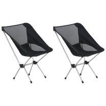 Campingstoelen 2 st met draagtas 54x50x65 cm aluminium