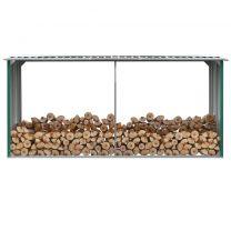 Haardhoutschuur 330x92x153 cm gegalvaniseerd staal groen