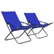 Strandstoelen 2 st inklapbaar stof blauw