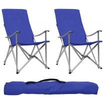 Campingstoelen inklapbaar 2 st blauw