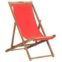 Strandstoel inklapbaar massief teakhout rood