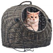 Kattendrager 50x42x40 cm natuurlijk wilgenhout grijs