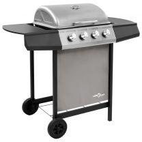 Gasbarbecue met 4 branders zwart en zilverkleurig