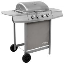 Gasbarbecue met 4 branders zilverkleurig
