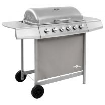 Gasbarbecue met 6 branders zilverkleurig