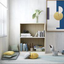 Boekenkast 60x24x74,5 cm spaanplaat wit en sonoma eikenkleurig