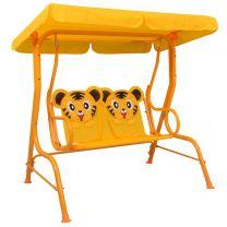 Kinderschommelbank 115x75x110 cm stof geel