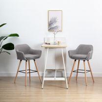 Barstoelen met armleuningen 2 st stof lichtgrijs