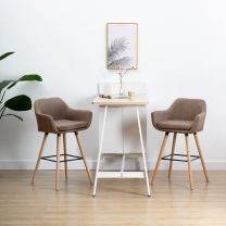 Barstoelen met armleuningen 2 st stof taupe