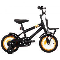Kinderfiets met voordrager 12 inch zwart en oranje