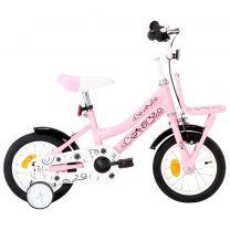 Kinderfiets met voordrager 12 inch wit en roze
