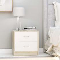 Nachtkastje 40x30x40 cm spaanplaat wit en sonoma eikenkleurig