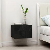 Nachtkastje 40x30x30 cm spaanplaat hoogglans zwart