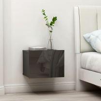 Nachtkastje 40x30x30 cm spaanplaat hoogglans grijs