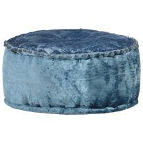 Poef rond 40x20 cm fluweel blauw