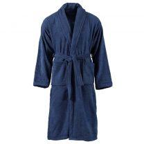Badjas unisex badstof L 100% katoen marineblauw