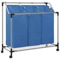 Wassorteerder met 3 zakken staal blauw