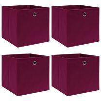 Opbergboxen 4 st 32x32x32 cm stof donkerrood
