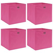 Opbergboxen 4 st 32x32x32 cm stof roze