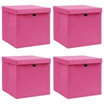 Opbergboxen met deksel 4 st 32x32x32 cm stof roze