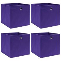 Opbergboxen 4 st 32x32x32 cm stof paars