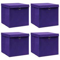 Opbergboxen met deksels 4 st 32x32x32 cm stof paars