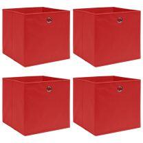 Opbergboxen 4 st 32x32x32 cm stof rood