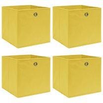 Opbergboxen 4 st 32x32x32 cm stof geel