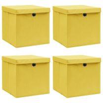Opbergboxen met deksels 4 st 32x32x32 cm stof geel